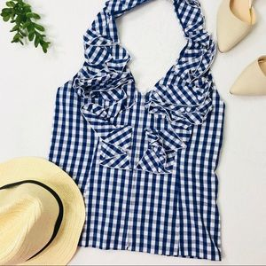 Boston Proper Ruffle Gingham Top Halter Top
